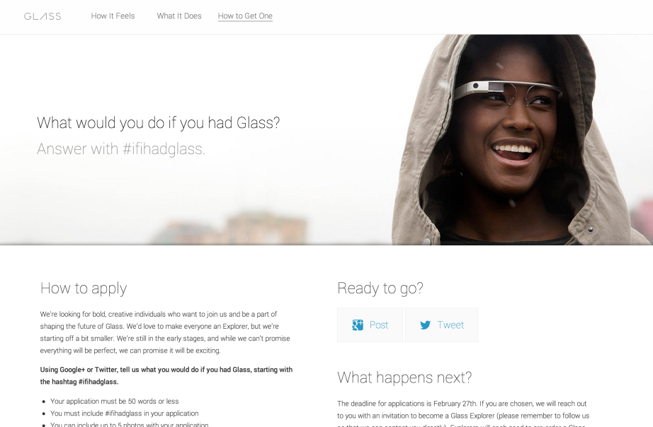 Google's #ifihadglass competition page