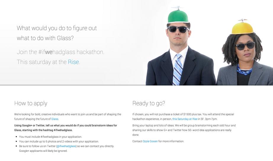 Original #ifwehadglass hackathon website